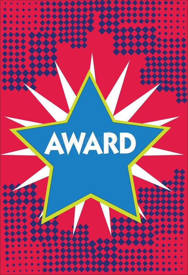Premio conceptual de la demostración de la escritura de la mano El premio de exhibición de la foto del negocio y la otra marca de ilustración del vector