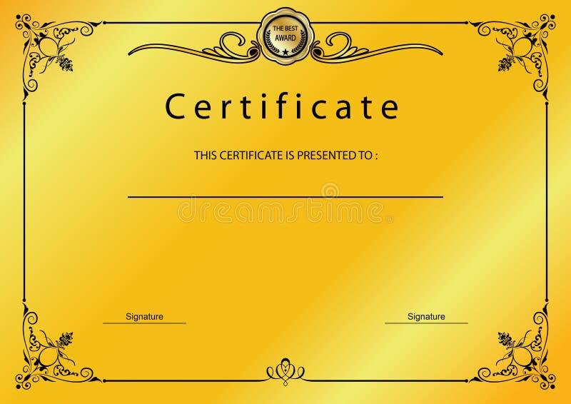 Premio d'annata del certificato dell'oro/modello del diploma royalty illustrazione gratis