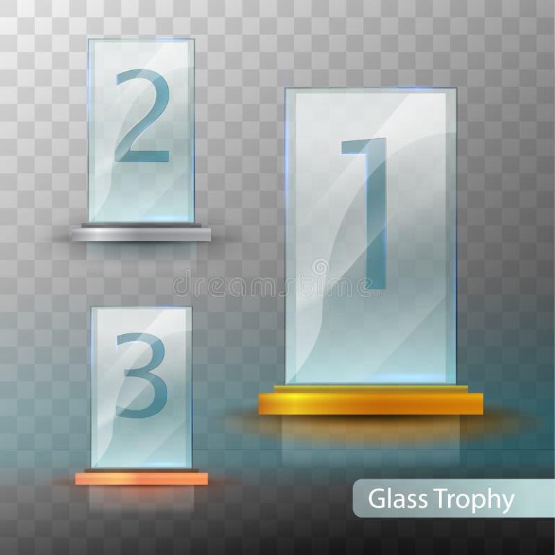 Premio de cristal del trofeo Sistema de tazas - primero, segundo y tercer lugar Plantilla premiada Plantilla del premio del oro,  libre illustration