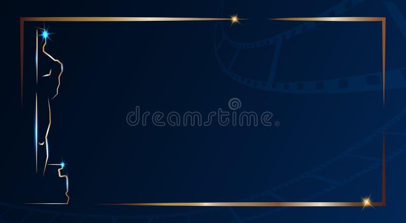 Premio de la Academia de oro de Óscar de la figurilla aislado en fondo azul marino con el marco del oro Hombre del icono de la es stock de ilustración