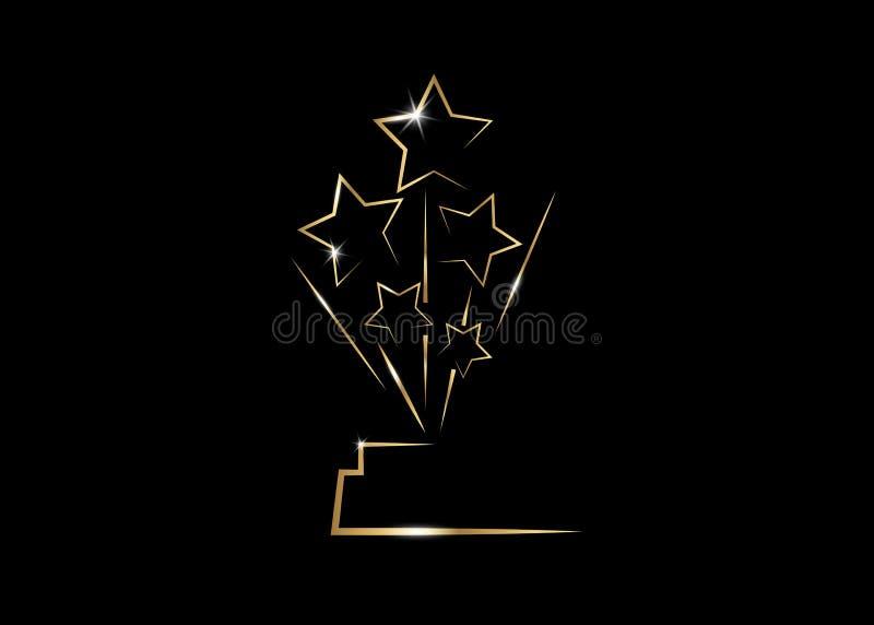 Premio de la estatua del PREMIO de la ESTRELLA del oro del PARTIDO de la película de HOLLYWOOD Oscars que da ceremonia Concepto p libre illustration