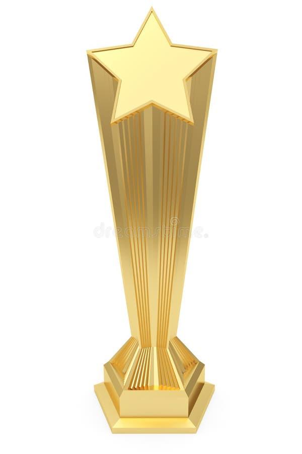 Premio de la estrella del oro en z?calo con la placa en blanco imágenes de archivo libres de regalías