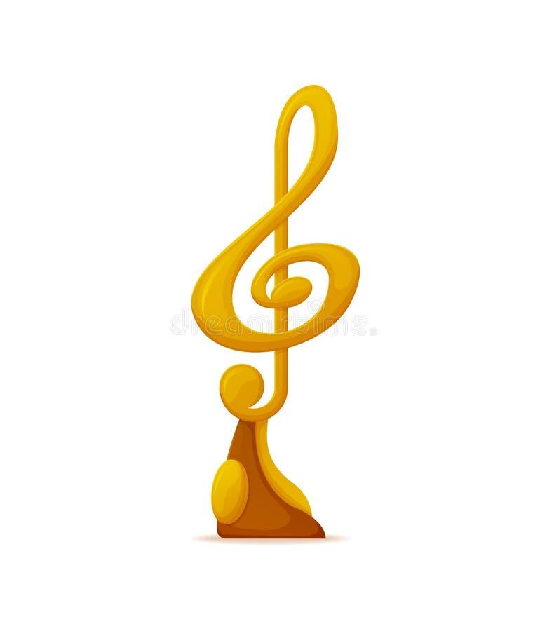 Premio de la música, icono del trofeo del nombramiento de la nota de oro stock de ilustración