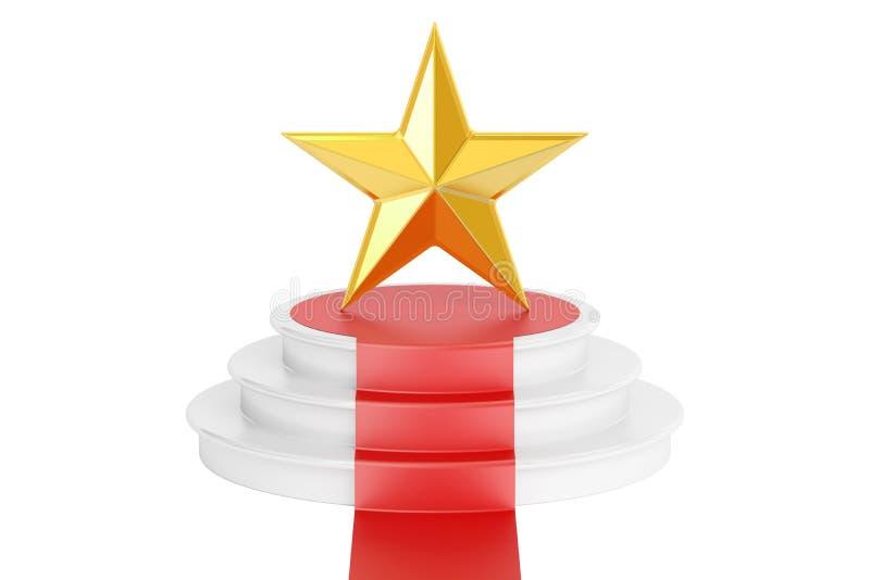 Premio de oro de la estrella, representación 3D ilustración del vector