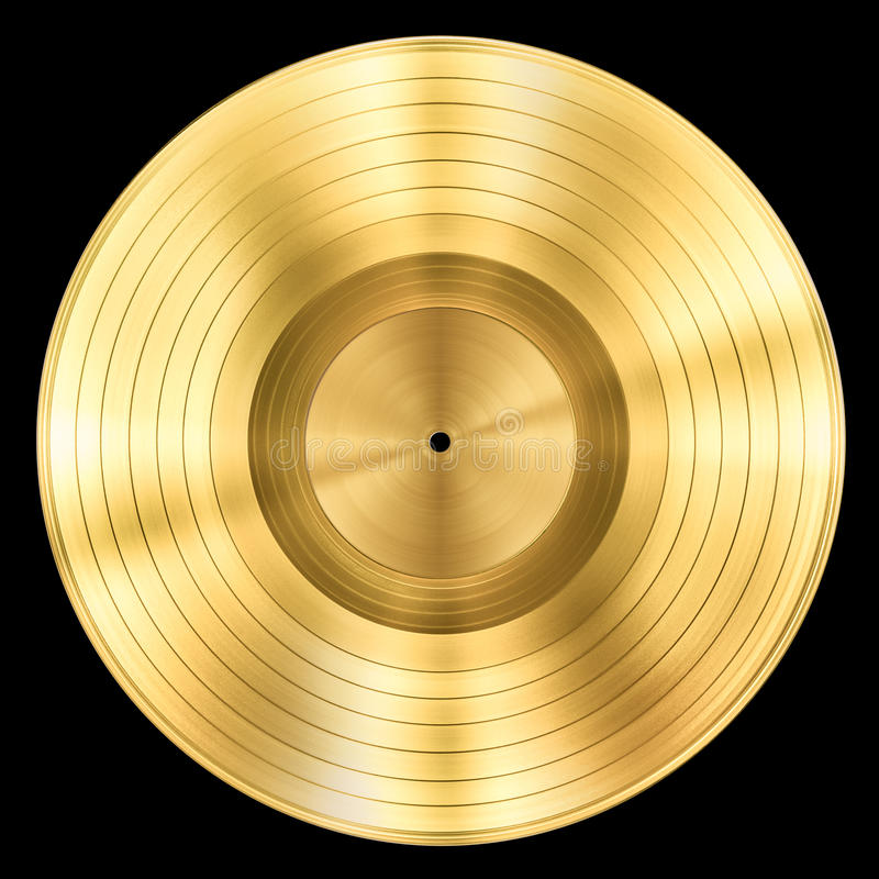 Premio de registro del disco de la música del oro aislado imagen de archivo libre de regalías