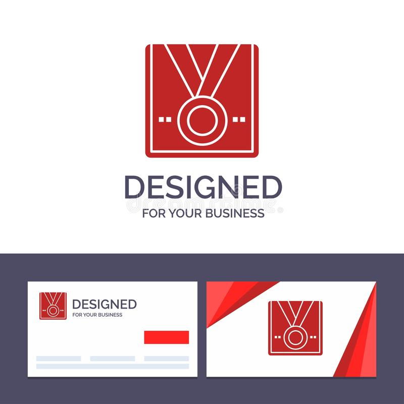 Premio de visita de la plantilla creativa de la tarjeta y del logotipo, medalla, estrella, ganador, ejemplo del vector del trofeo stock de ilustración