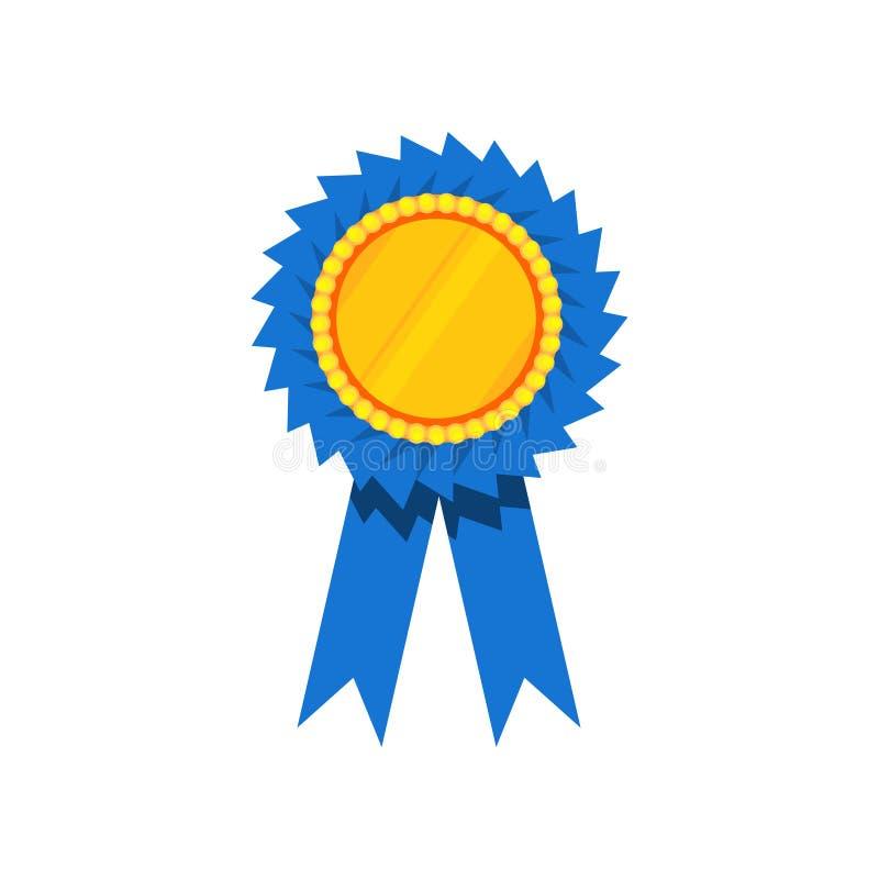 Premio del nastro blu, rosetta dorata in bianco Premio per il vincitore Elemento piano decorativo di vettore per il certificato o illustrazione vettoriale