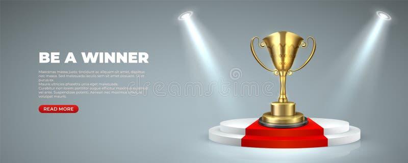 Premio del negocio o del deporte en el podio iluminado Trofeo premiado de la taza en etapas redondas con el ganador de la alfombr stock de ilustración