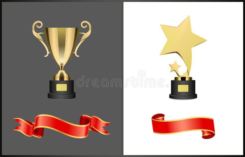 Premio del Shooting Stars y sistema del trofeo de la taza de oro stock de ilustración