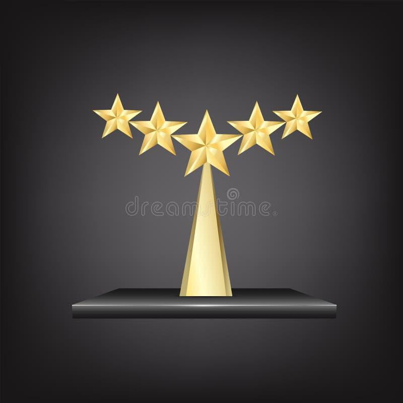 Premio del trofeo dell'oro di 5 stelle royalty illustrazione gratis