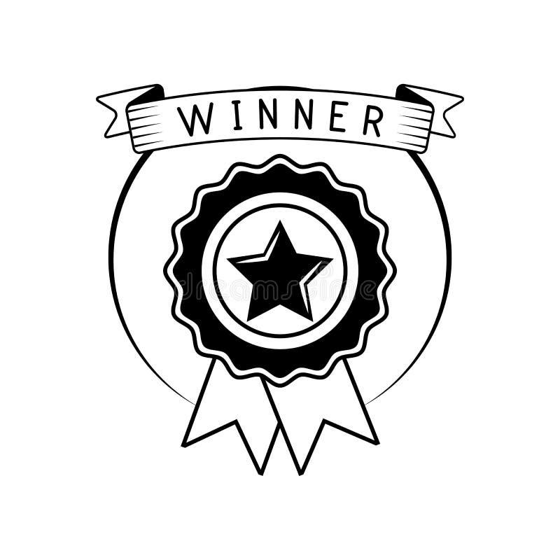 Premio del vincitore del distintivo con il nastro Illustrazione di vettore isolata su bianco illustrazione vettoriale