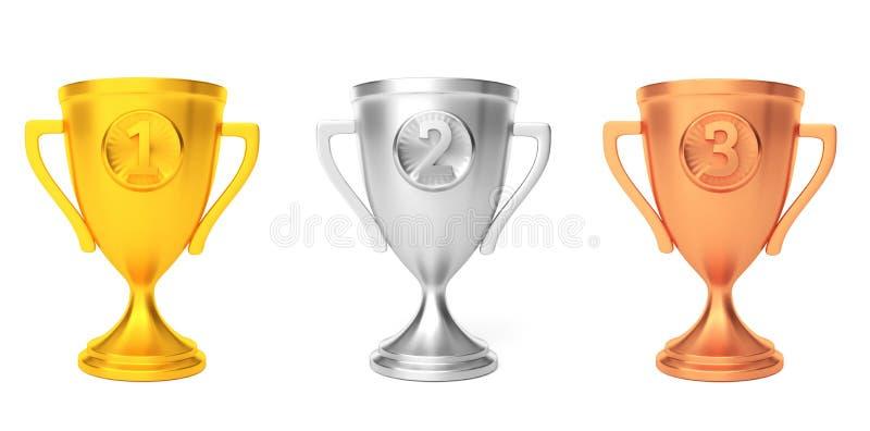 Premio del vincitore della tazza del bronzo dell'argento dell'oro isolato su bianco 3d rendono illustrazione vettoriale