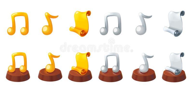 Premio dell'argento e dell'oro Premio del rotolo Premio di musica Trofeo della nota di musica dell'oro Insieme delle icone dell'a royalty illustrazione gratis
