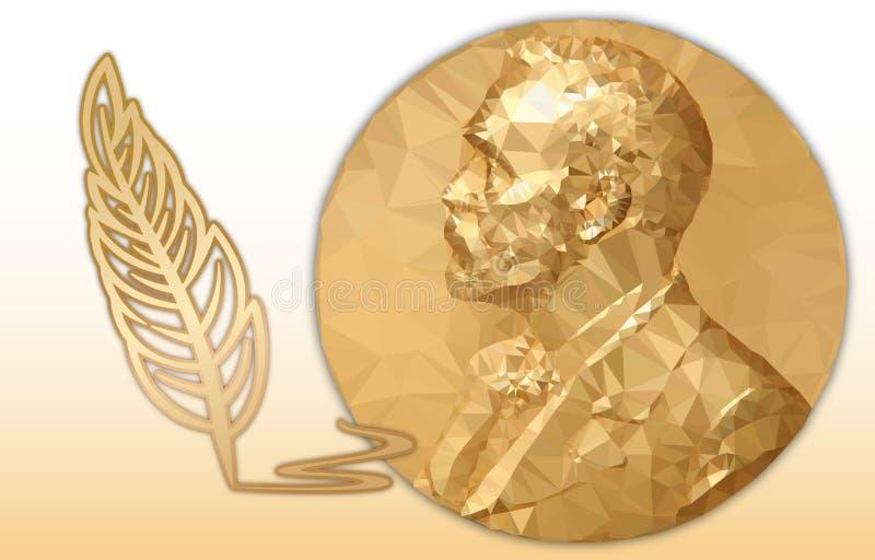 Premio della letteratura Nobel, medaglia poligonale dell'oro e simbolo della matita illustrazione vettoriale