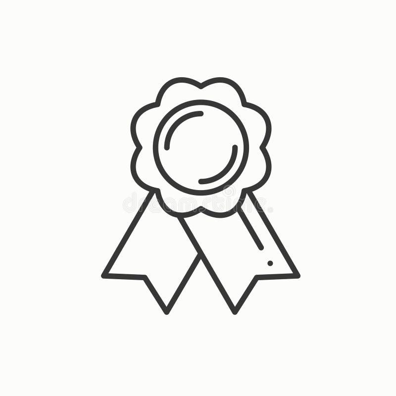 Premio della medaglia d'oro con il nastro La linea del vincitore assottiglia l'icona Primo risultato del campione di direzione de illustrazione vettoriale
