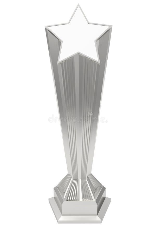 Premio della stella del platino o dell'argento sul piedistallo su bianco royalty illustrazione gratis