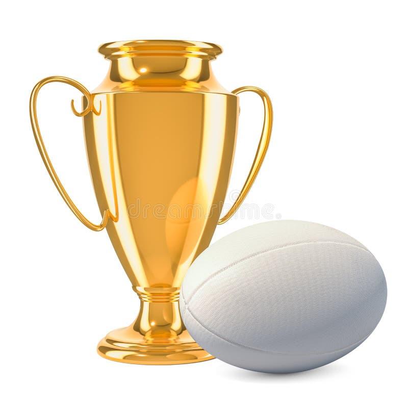 Premio della tazza del trofeo dell'oro con la palla di rugby, rappresentazione 3D illustrazione vettoriale