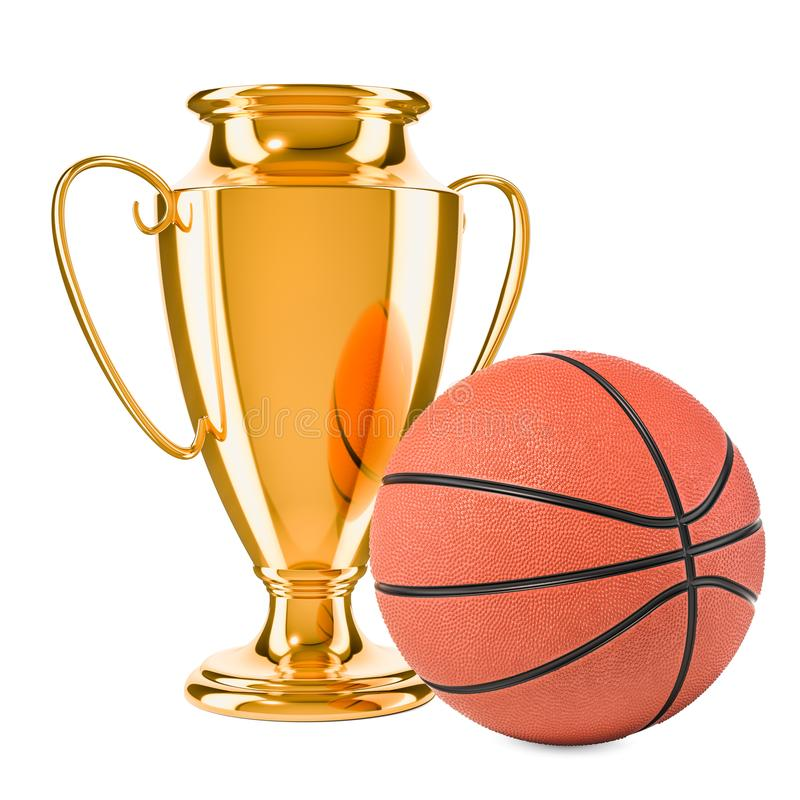 Premio della tazza del trofeo dell'oro e palla di pallacanestro, rappresentazione 3D royalty illustrazione gratis