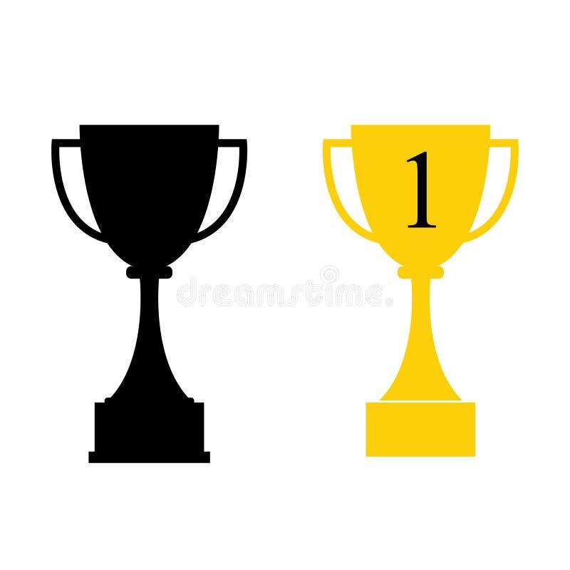 Premio della tazza di vittoria del vincitore dell'icona del trofeo illustrazione di stock