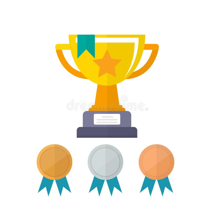Premio di campionato della tazza dorata Primo posto del premio con l'oro del campione, l'argento e le medaglie bronzee del premio royalty illustrazione gratis