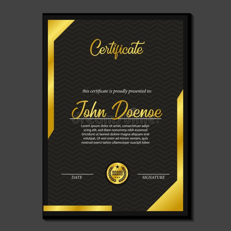 Premio di lusso del certificato A4 con la medaglia dorata del perno dell'emblema con lo sguardo di lusso illustrazione di stock