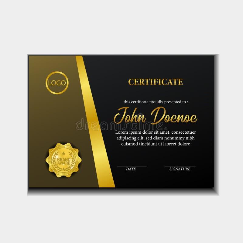 Premio di lusso del certificato A4 con la medaglia dorata del perno dell'emblema con lo sguardo di lusso illustrazione vettoriale