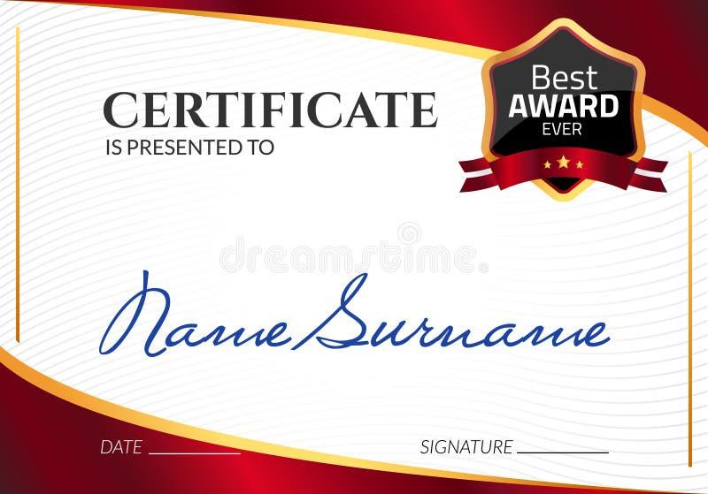 Premio di lusso del modello del certificato Diploma di affari di vettore con il bollo della guarnizione Buono del regalo o risult illustrazione vettoriale