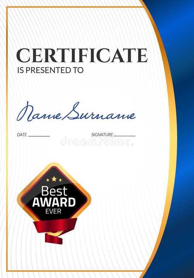 Premio di lusso del modello del certificato Diploma di affari di vettore con il bollo della guarnizione Buono del regalo o risult royalty illustrazione gratis