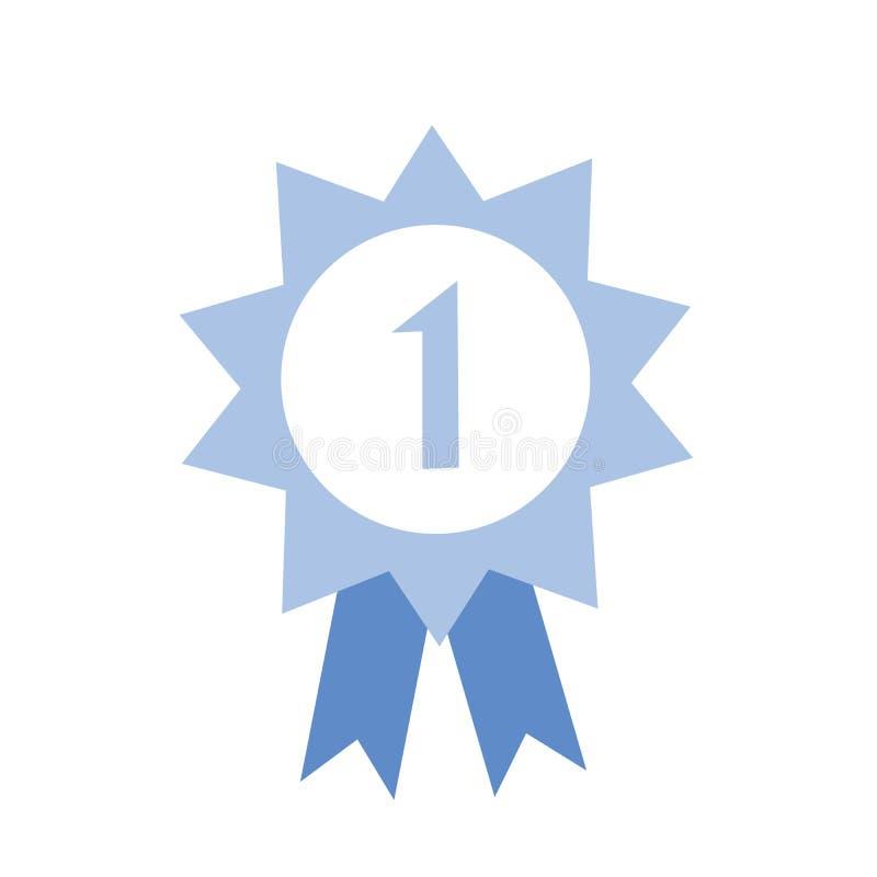 Premio di onore con il numero uno ed il nastro Icona blu del premio Illustrazione piana di vettore su fondo bianco illustrazione vettoriale