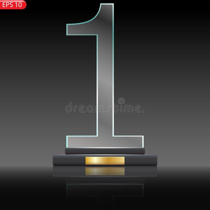 Premio di vetro del trofeo Prima placca del premio del posto royalty illustrazione gratis