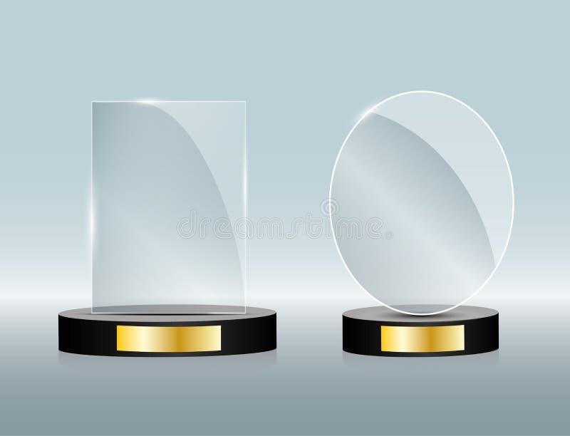 Premio di vetro vuoto, modello trasparente del trofeo Elemento di vettore, eps10 illustrazione di stock