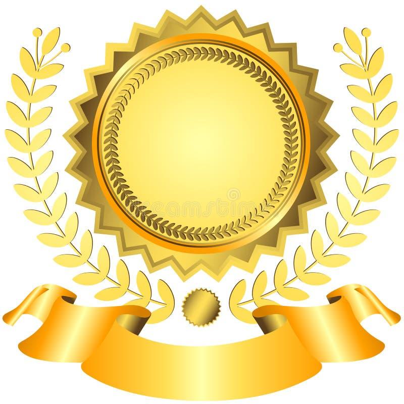 Premio dorato con il nastro illustrazione di stock