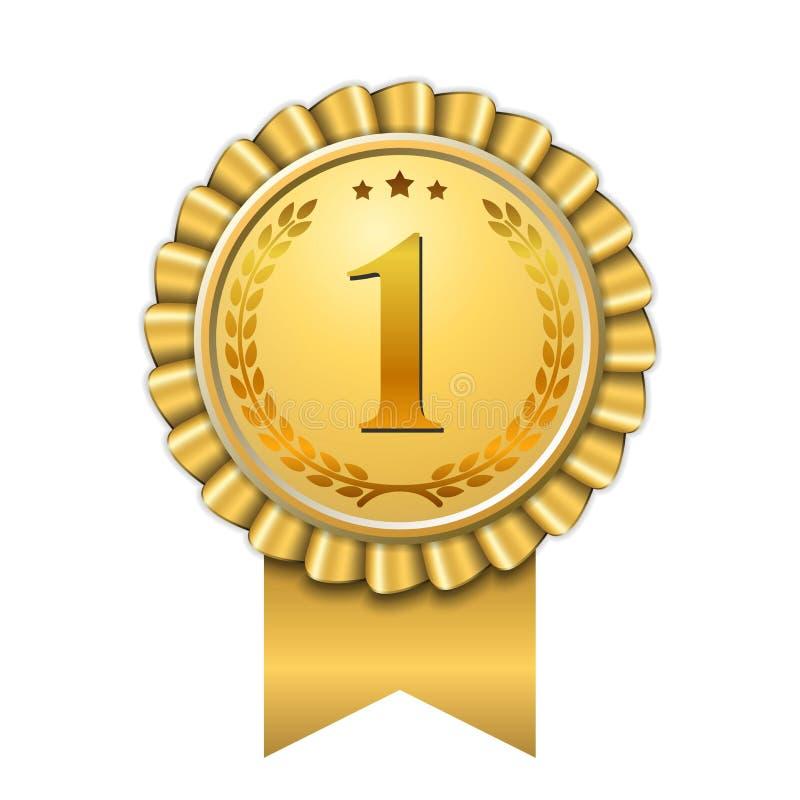 Premio dorato della medaglia 1 del primo vincitore di progettazione di numero dell'icona dell'oro del nastro del premio Migliore  illustrazione di stock