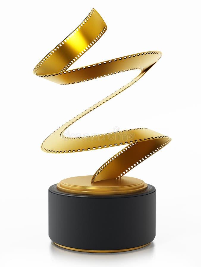 Premio dorato di film della striscia di pellicola illustrazione 3D illustrazione vettoriale