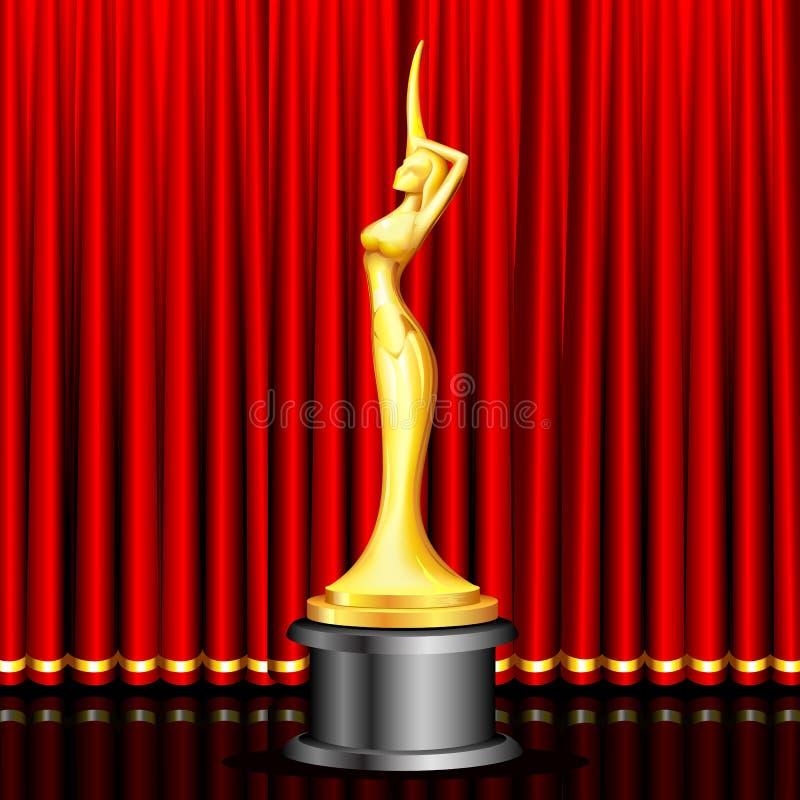 Premio dorato sulla fase illustrazione di stock