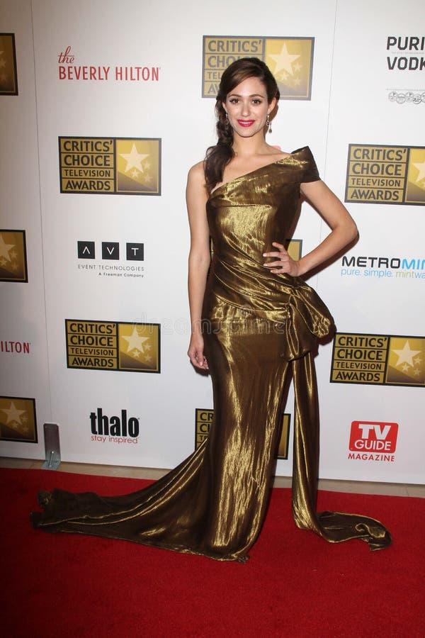 Premio Emmy Rossum en las concesiones bien escogidas de la televisión de los segundos críticos anuales, Beverly Hilton, Beverly Hi fotos de archivo libres de regalías