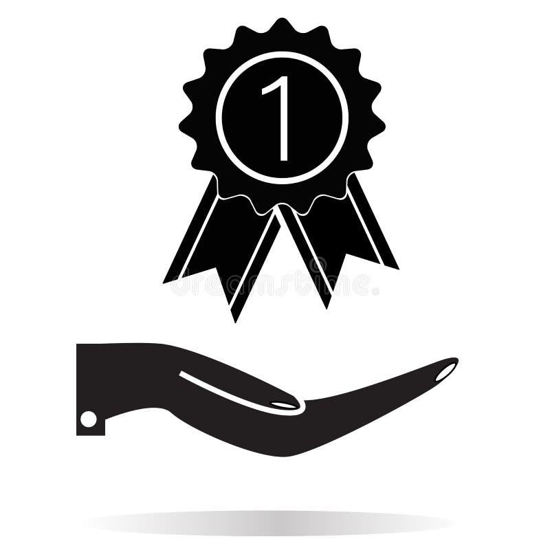 Premio en el icono de la mano en el fondo blanco Estilo plano premio en el icono de la mano para su diseño del sitio web, logotip stock de ilustración
