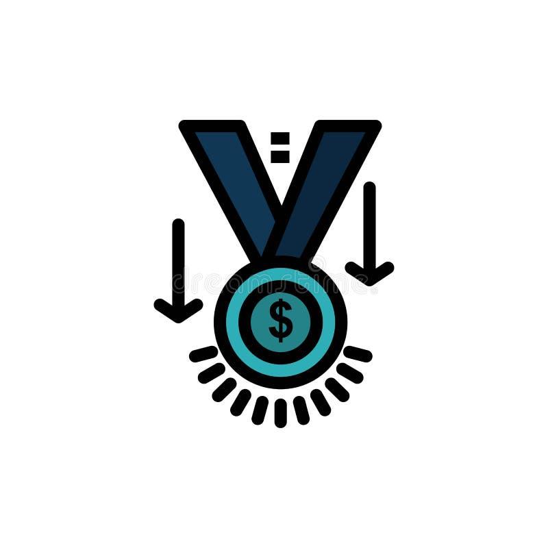Premio, medalla, estrella, ganador, icono plano del color del trofeo Plantilla de la bandera del icono del vector stock de ilustración