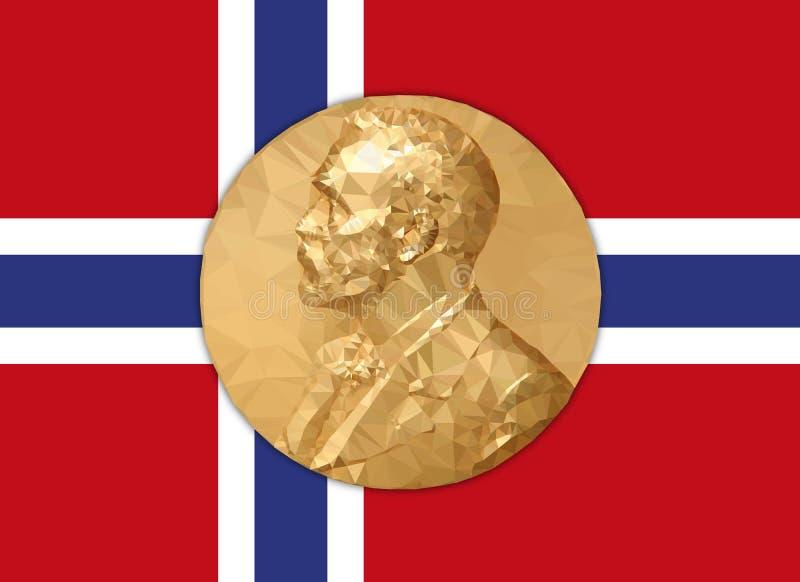 Premio Nobel de la medalla de oro con la bandera de Norvay libre illustration