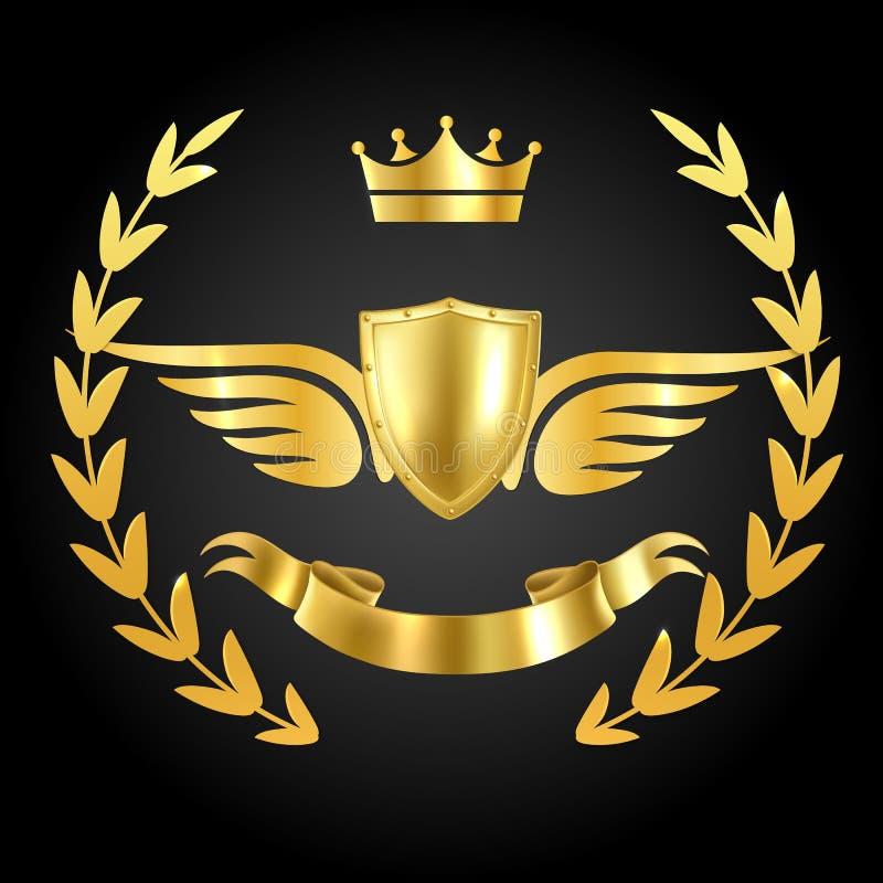 Premio per il lusso con le ali Simbolo lussuoso di campione sullo sfondo scuro con foglie reali e concetto di vettore al nastro illustrazione vettoriale