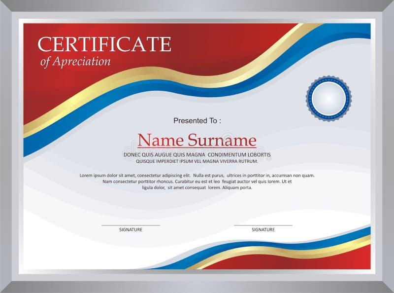 Premio - plantilla del diploma stock de ilustración