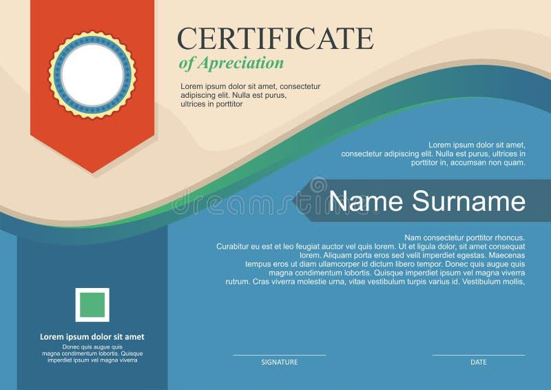 Premio - plantilla del diploma con diseño moderno ilustración del vector