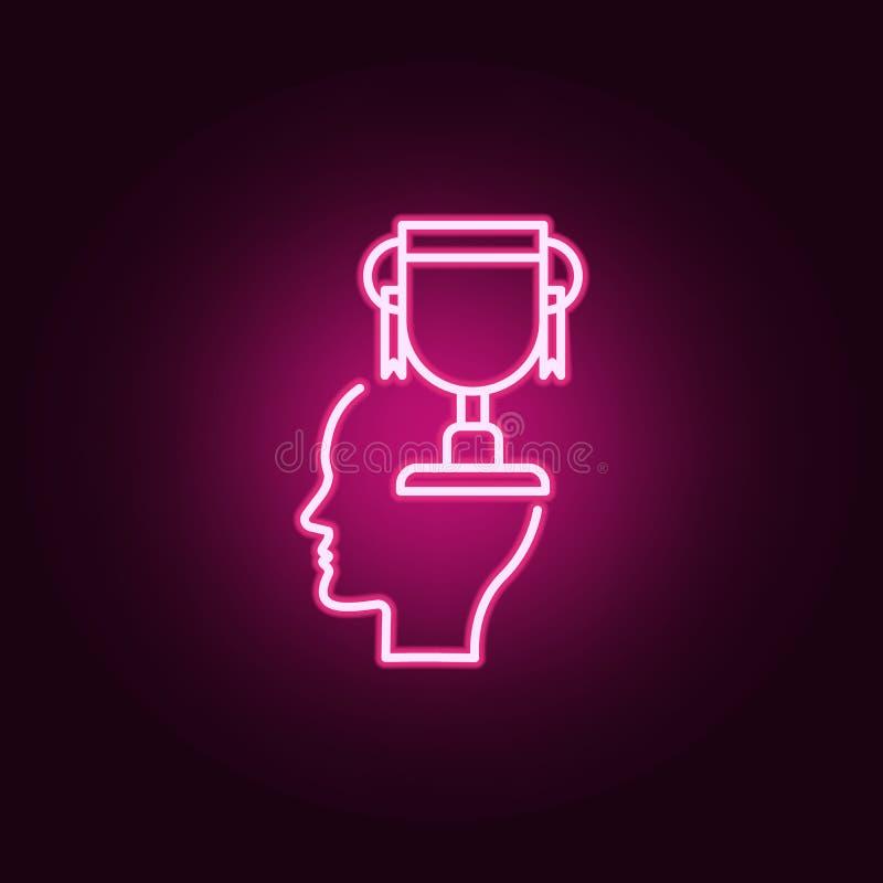 Premio, trofeo, icona al neon della testa r E illustrazione di stock