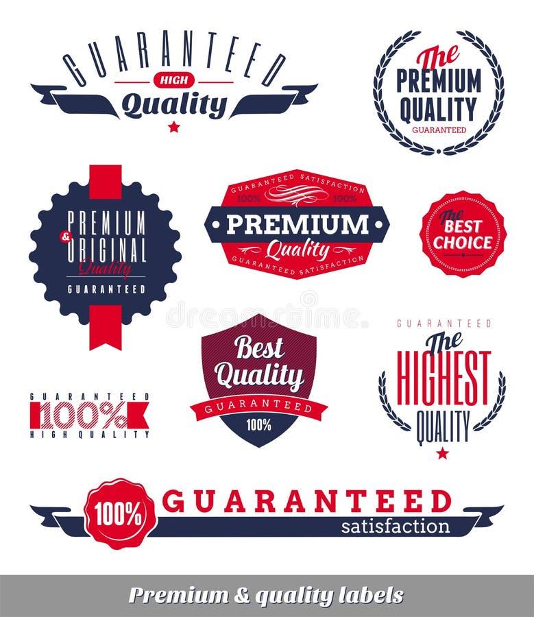 Premio y escrituras de la etiqueta y emblemas de la calidad stock de ilustración