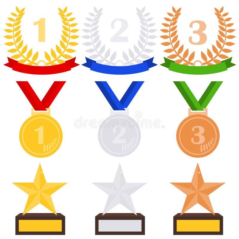 Premios de los deportes Medallas de los deportes y tazas de los deportes ilustración del vector