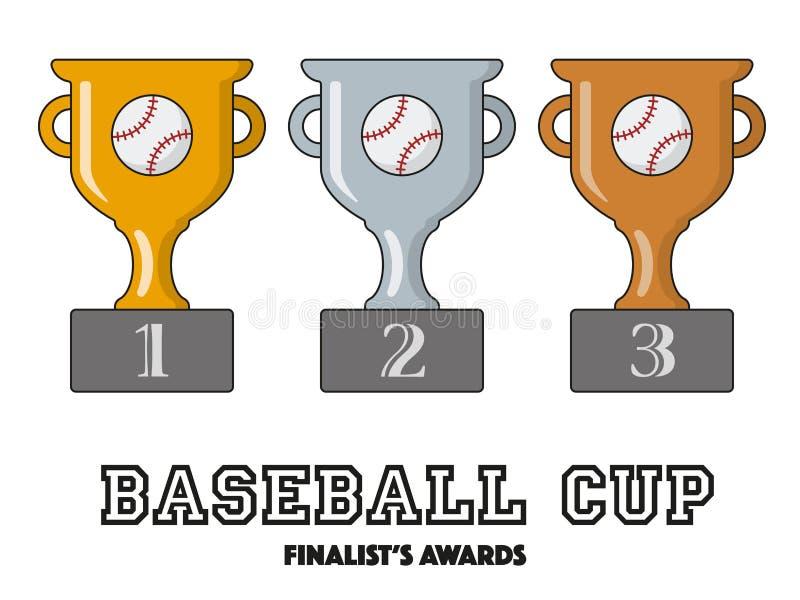 Premios de los finalistas de la taza del béisbol en oro, plata y bronce ilustración del vector