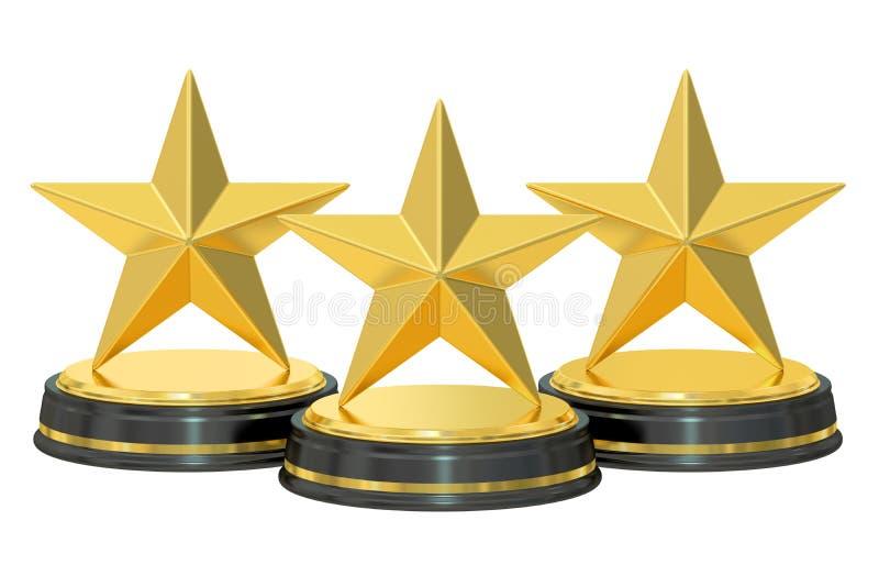 Premios de oro de las estrellas, representación 3D stock de ilustración