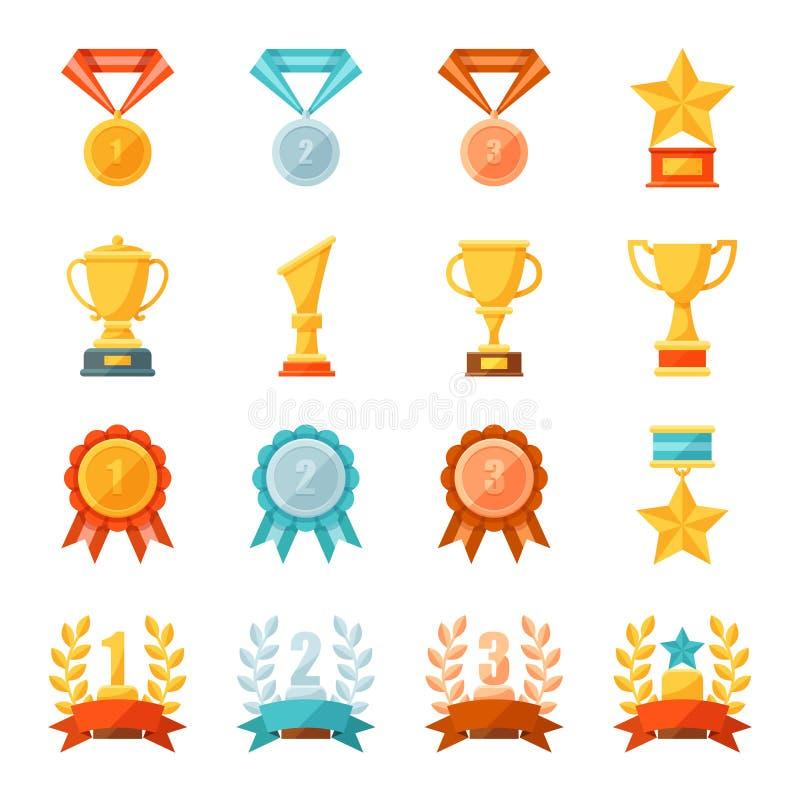 Premios del negocio y del deporte de la historieta y sistema del ejemplo del trofeo, iconos planos coloridos del vector de medall stock de ilustración