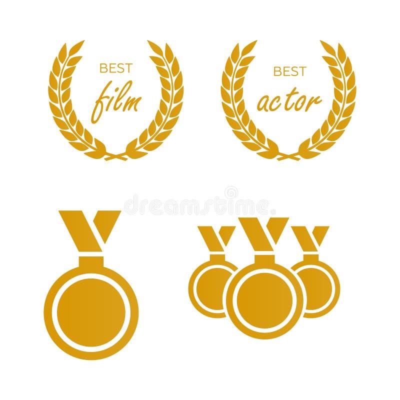 Premios para la mejor película Nombramiento del premio Premio de la medalla para b stock de ilustración
