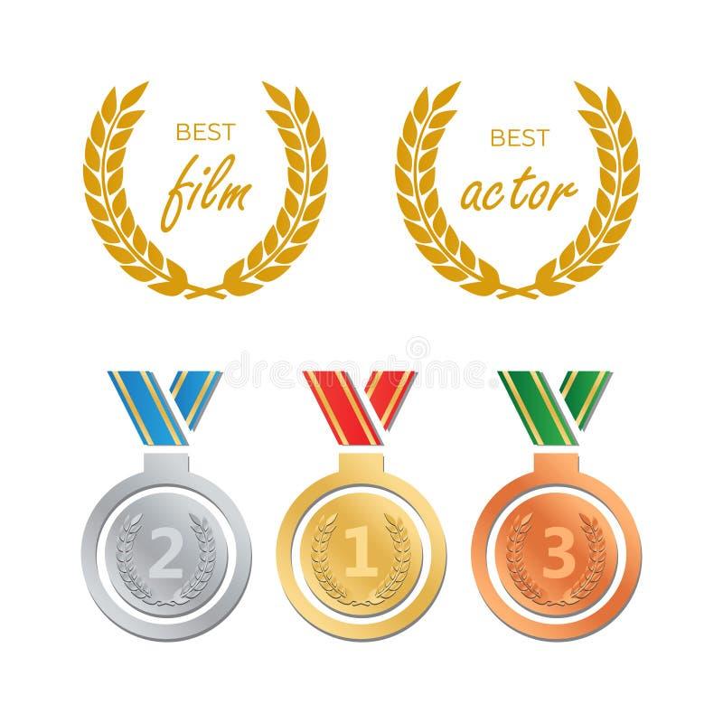 Premios para la mejor película Vector del nombramiento del premio Premio de la medalla para b libre illustration